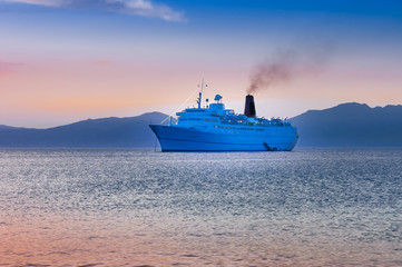 cruiser ship sailing on Aegean sea