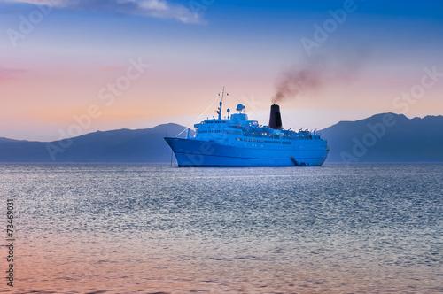 cruiser ship sailing on Aegean sea - 73469031