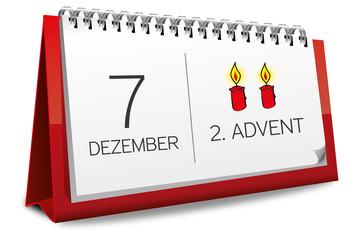 Kalender rot 7 Dezember 2. Advent 2014