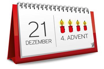Kalender rot 21 Dezember 4. Advent 2014