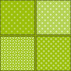 Set of Four green floral seamless patterns