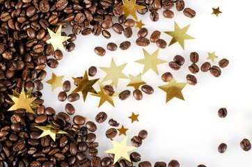Einladung zum Advents-Kaffee: Kaffebohnen und Goldsterne :)