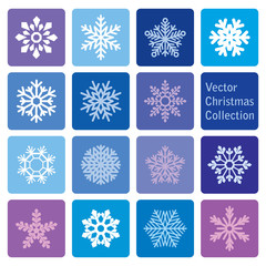 vector collection: christmas and new year snowflakes icons