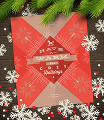 Christmas greeting card, paper snowflakes and fir tree branches