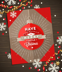 Christmas greeting card, decoration and paper snowflakes