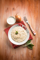 risotto with onion  cream sauce and sage