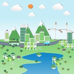 Green city with renewable energy