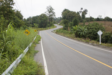 Multiple curves road in Northern of Thailand