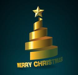 Christmas Tree Golden Ribbon