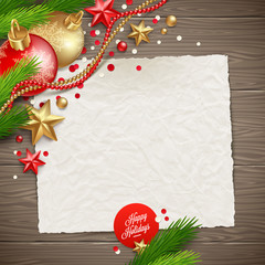 Paper banner for holidays message and Christmas decor