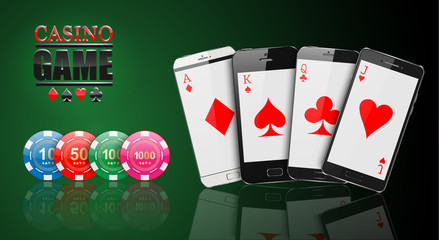 Smartphone Gambling , Online gambling illustration design.vector