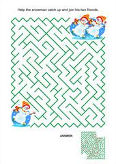 Maze game for kids - playful skating snowmen