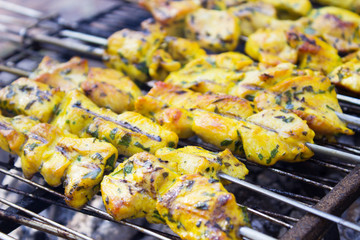 Fried skewers on the grill.