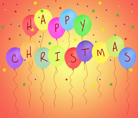 Happy Christmas balloon message, white background