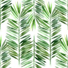Akwarela palma liści bez szwu