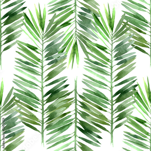 watercolor palm tree leaf seamless © Marina Gorskaya