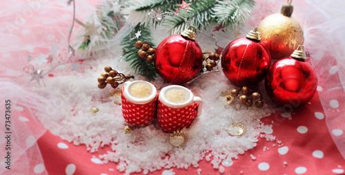 Fotobehang Koffiebonen tazas en la decoración navideña