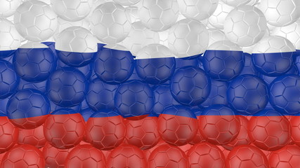 Soccer balls is falling down and forming a russia flag