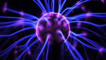 lasma ball with moving energy rays inside on black