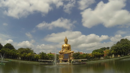 Buddha bless at Wat Phikun Thong temple, Thailand. Time Lapse