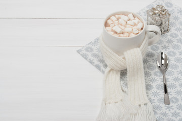 Mug Of Hot Chocolate With Scarf. Marshmallows. Christmas Decorat