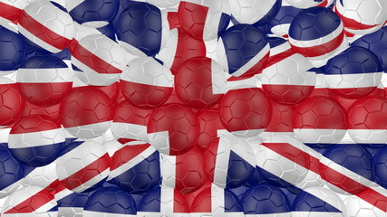 Soccer balls is falling down and forming a great britain flag