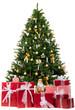 gold geschmückter christbaum mit pakete