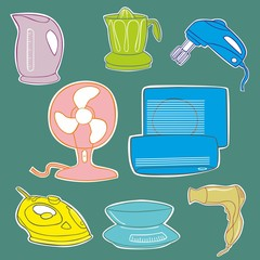 Household kitchen aplliance icons