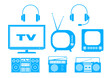 Blue audio and TV icons on white background