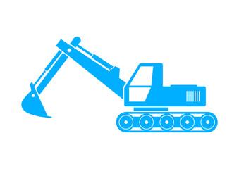Blue excavator icon on white background