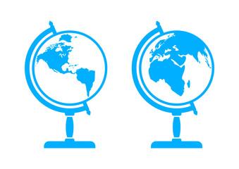 Blue globe icons on white background