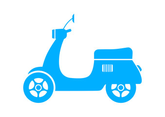 Blue scooter icon on white background