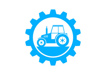 Blue industrial icon on white background