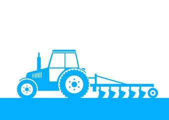 Blue tractor on field