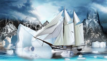 Zweimaster im Eismeer mit Eisberge und Felsen