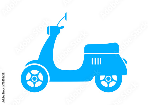 Blue scooter icon on white background - 73476638