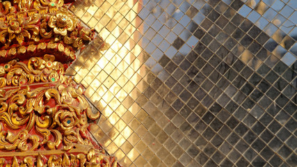 Colourful stained golden glass, Thai temple elements