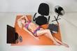 Leinwandbild Motiv girl in lingerie on the office desk
