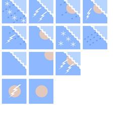 Прогноз погоды - набор иконок в цвете (Ночь)