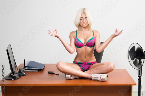 girl in lingerie on the office desk - 73477417