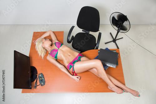 girl in lingerie on the office desk - 73477445