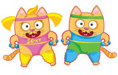 sports funny cartoon cats. vector illustration