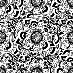 Seamless doodle. Monochrome floral pattern.