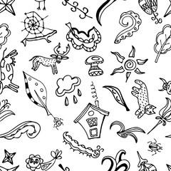 Vector seamless pattern, doodling design.  Kids illustration.  D