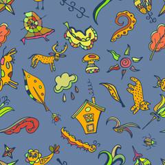 Vector color seamless pattern, doodling design.  Kids illustrati