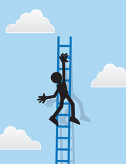 Silhouette figure hanging from a ladder