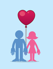 Man and woman couple holding heart balloon