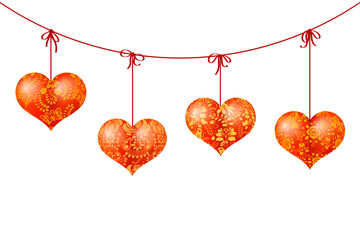 Garland of red hearts on ribbons with gold floral patterns. Vect