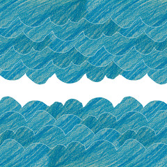 blue wave or clound made from painting pencil color on drawing p