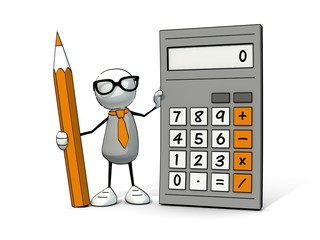 little sketchy man with glasses with calculator and pencil